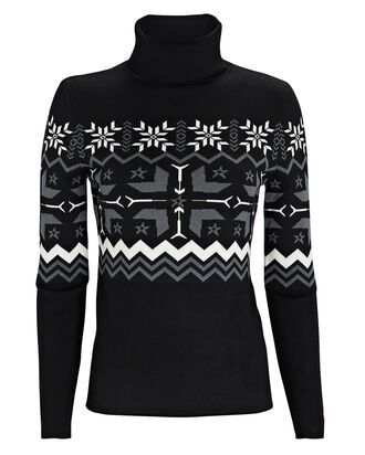 Nordic Fair Isle Turtleneck Sweater, BLACK, hi-res