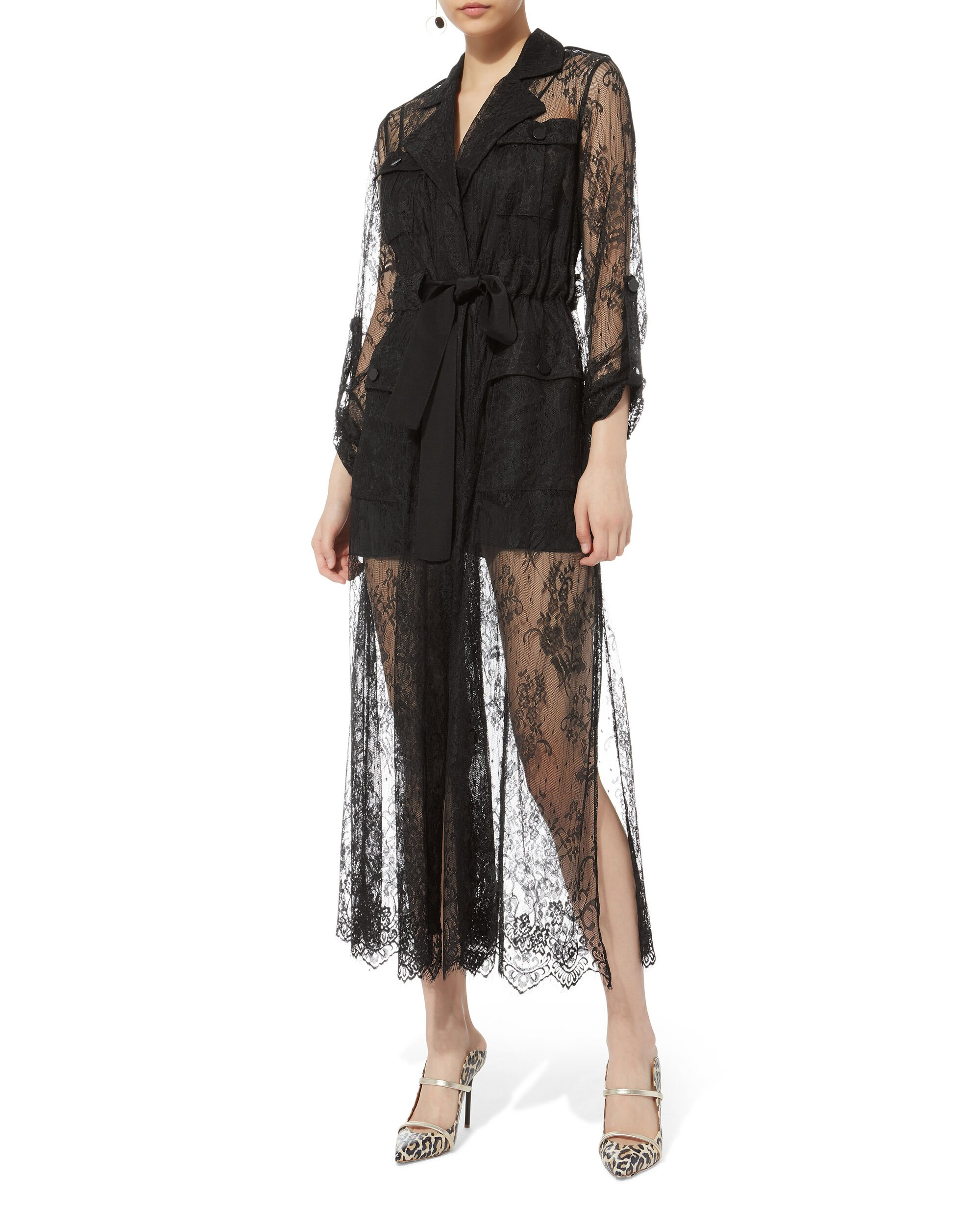 Lace Trench Dress, BLACK, hi-res