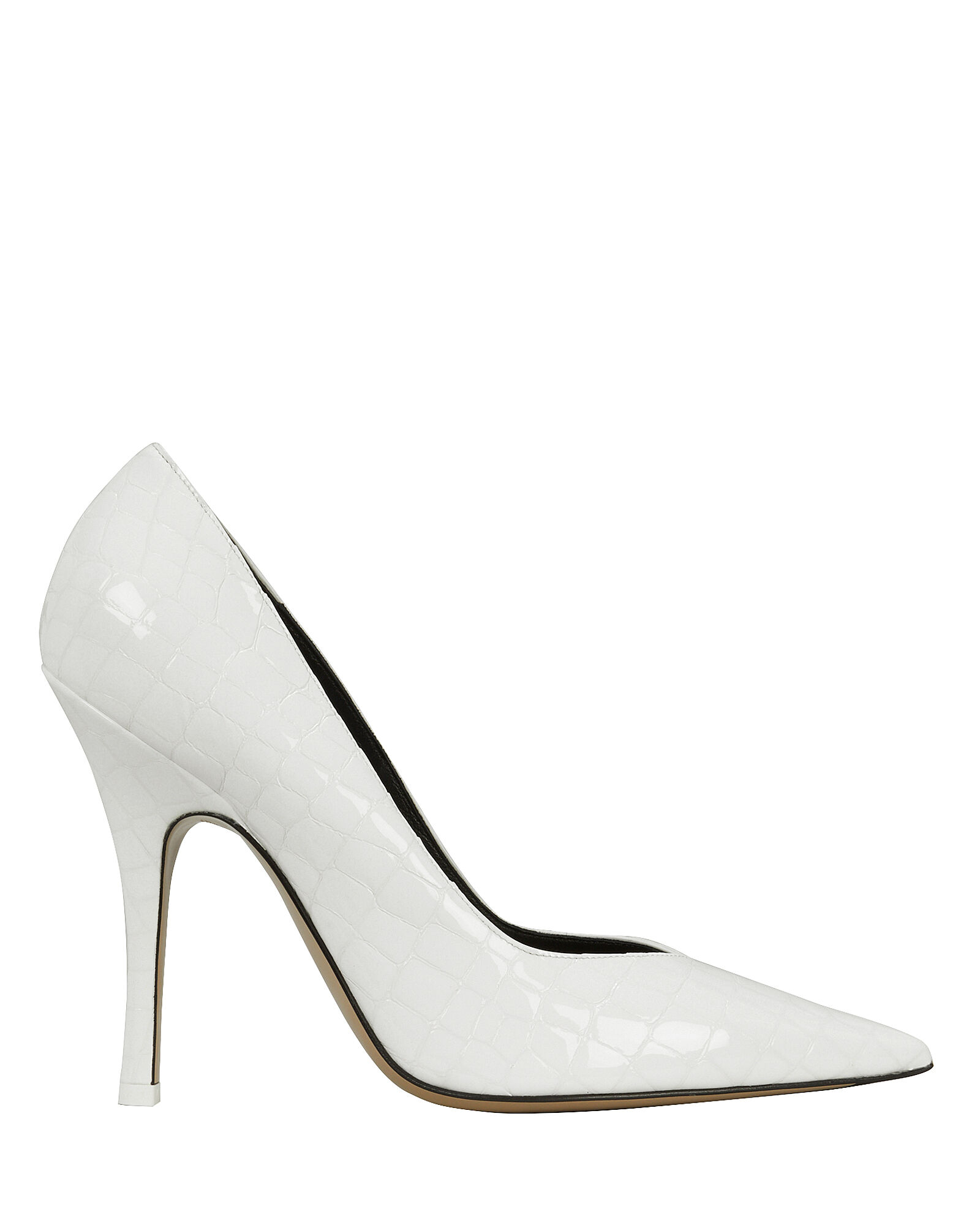 Croc-Embossed Leather Pumps, WHITE, hi-res