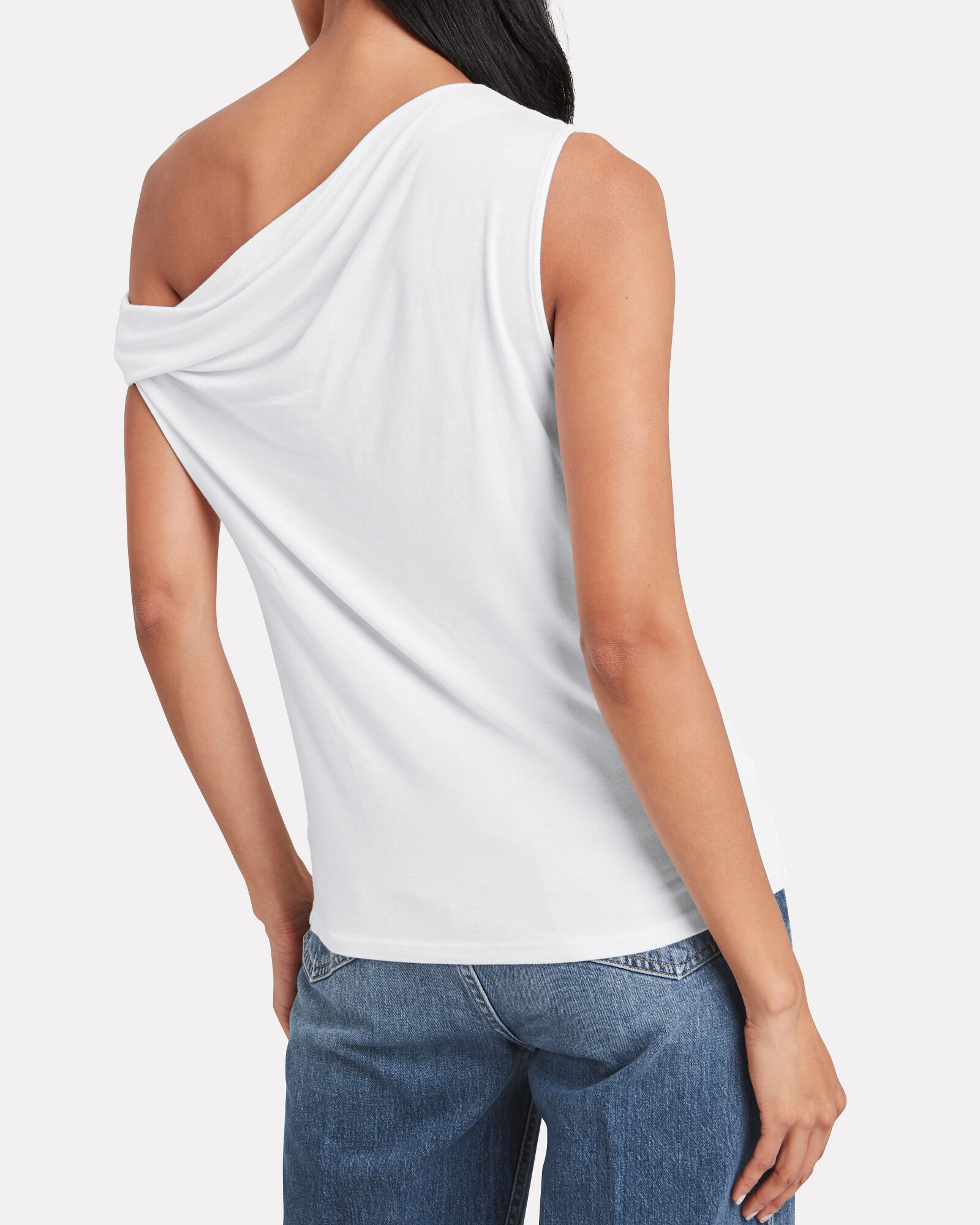 Exposed Shoulder Easy Top, WHITE, hi-res