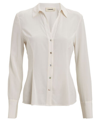 Priscilla Button Down Shirt, IVORY, hi-res
