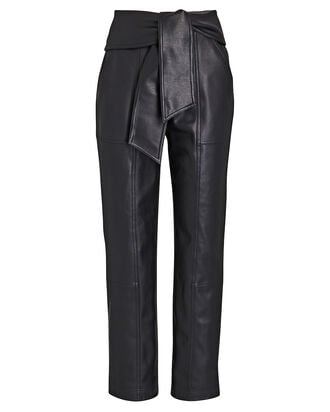 Tessa Tie-Waist Vegan Leather Pants, BLACK, hi-res