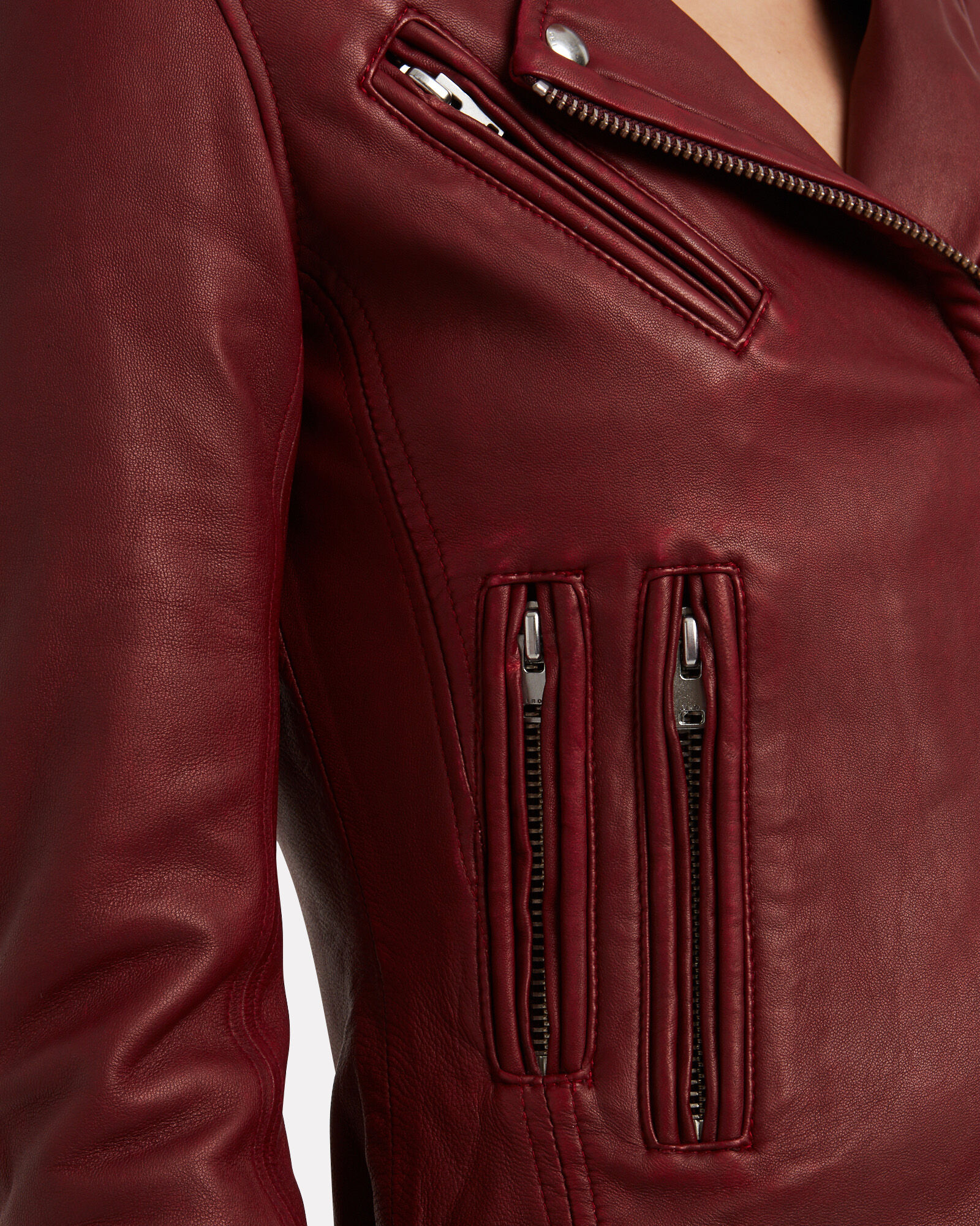 Han Leather Moto Jacket, RED-DRK, hi-res