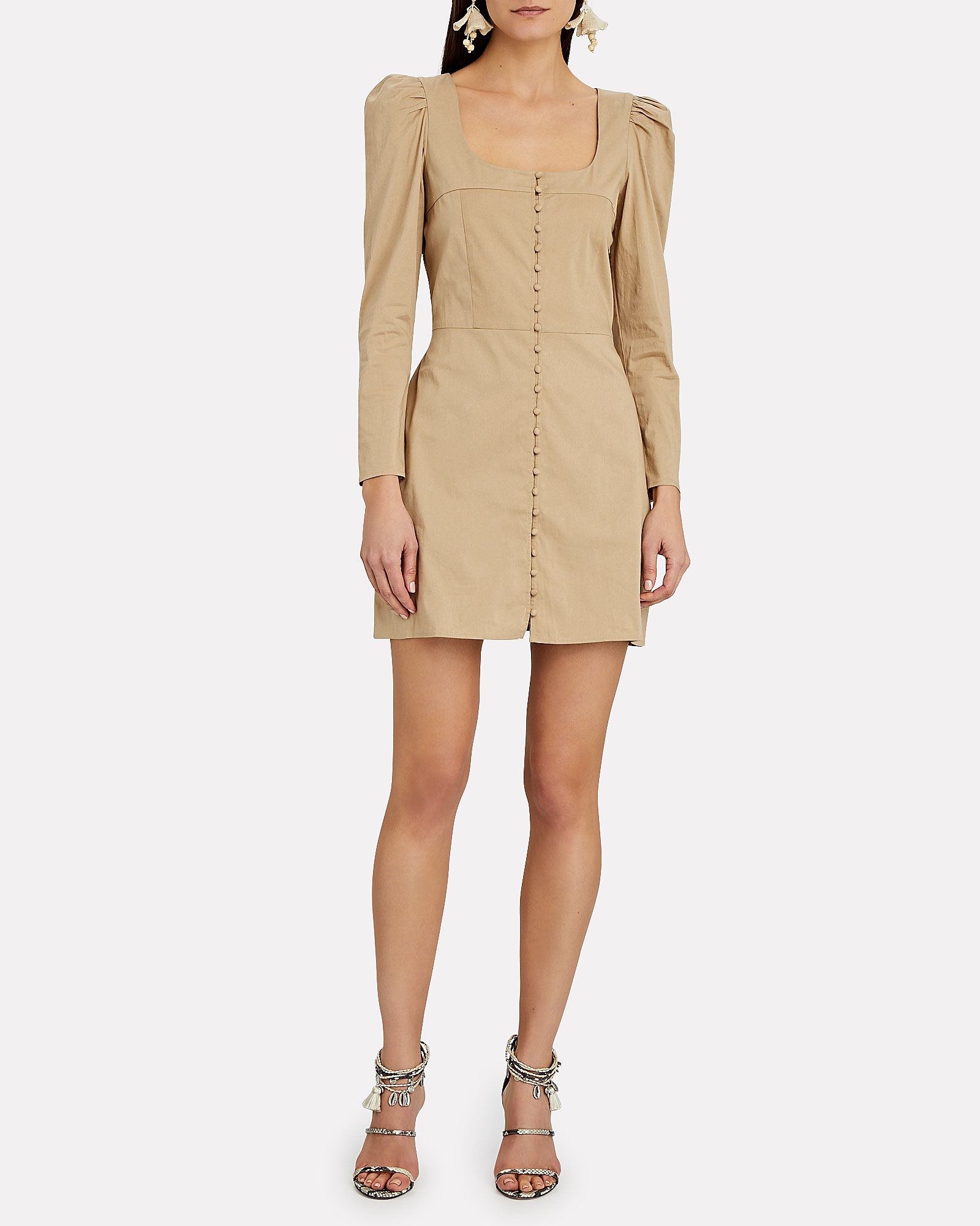 Sandrine Cotton Mini Dress, BEIGE, hi-res