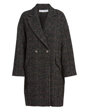 Trish Double-Breasted Twill Coat, CHARCOAL, hi-res