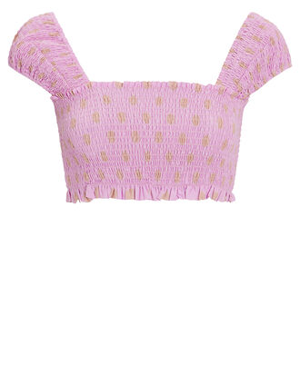 Smocked Crop Top, LILAC, hi-res