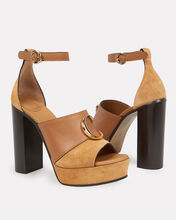 C Logo Platform Sandals, BROWN, hi-res