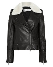 Shearling Collar Leather Biker Jacket, BLACK/IVORY, hi-res