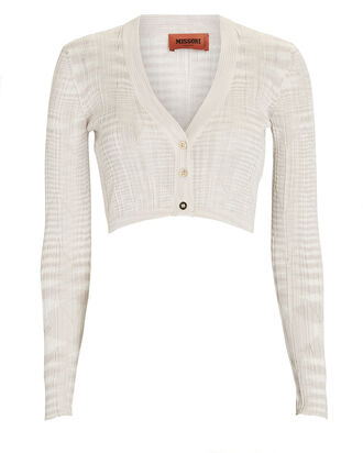 Space Dyed Cropped Cardigan, IVORY, hi-res
