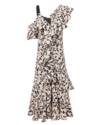 Asymmetric Floral Midi Dress, BLK/WHT, hi-res