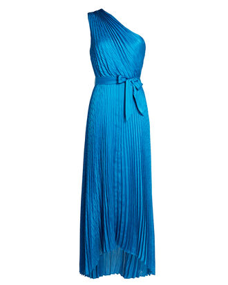 Luisa Pleated Satin Midi Dress, BLUE-MED, hi-res
