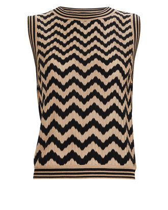 Knit Chevron Tank Top, BLK/WHT, hi-res