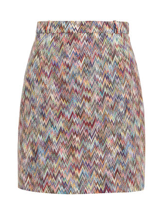Chevron Knit Mini Skirt, RAINBOW/ZIGZAG, hi-res