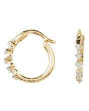 Five Diamond Huggie Hoops, GOLD, hi-res