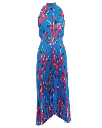 Renzo Pleated Midi Dress, BLUE/FLORAL, hi-res