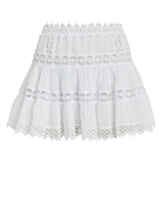 Greta Lace-Trimmed Mini Skirt, WHITE, hi-res