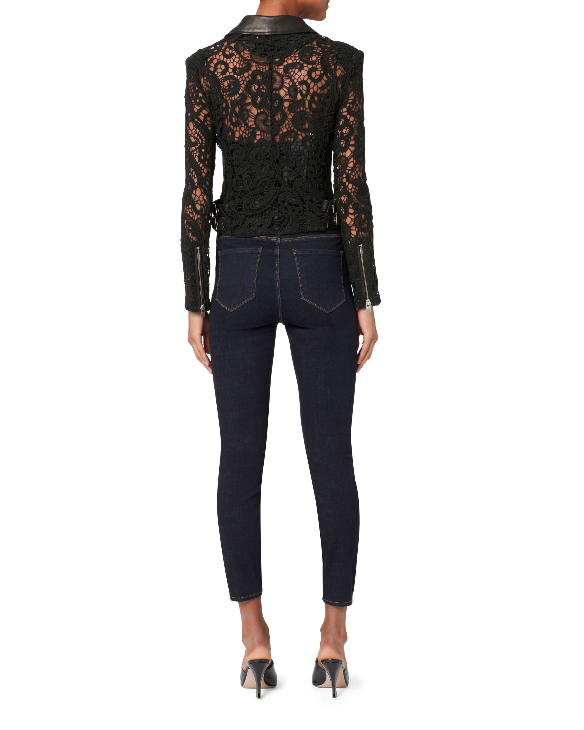 Lace Moto Leather Jacket, BLACK, hi-res