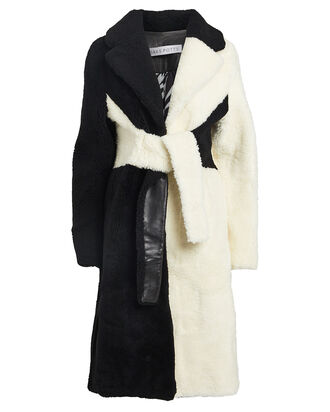 Wrapis Colorblocked Shearling Coat, BLACK/WHITE, hi-res