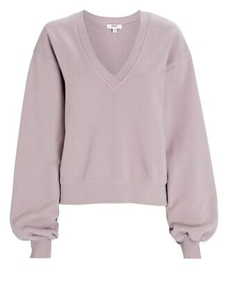 V-Neck Balloon Sleeve Sweatshirt, LIGHT PURPLE, hi-res