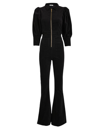 70s Corduroy Jumpsuit, BLACK, hi-res