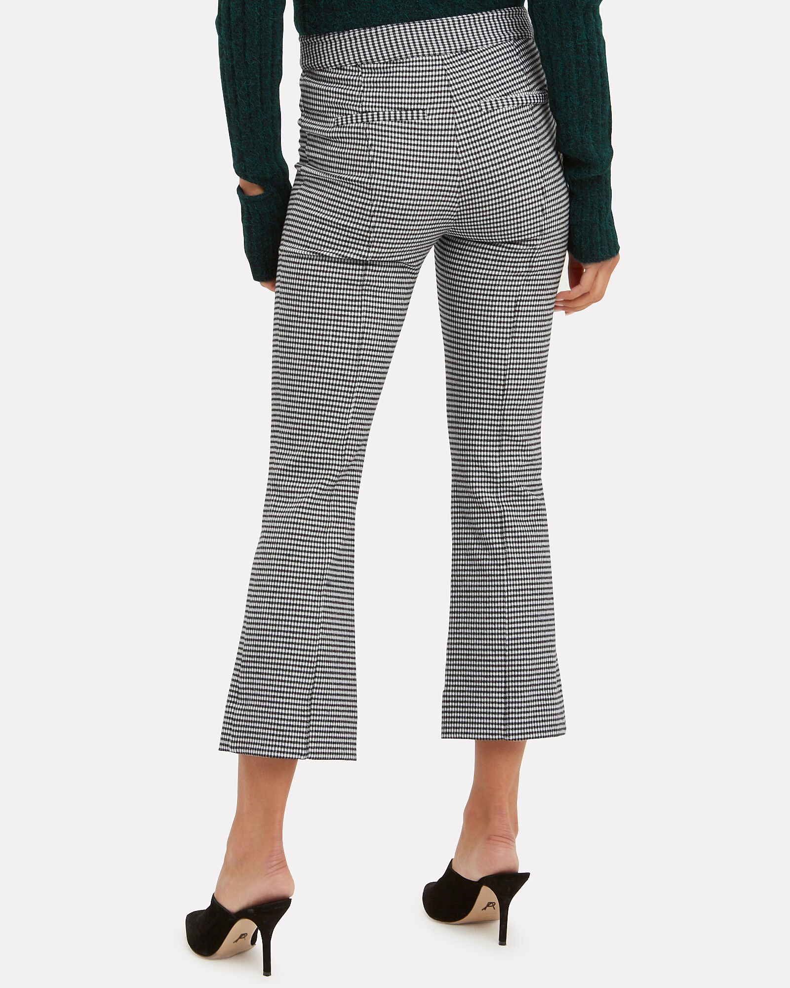 Houndstooth Cropped Flare Trousers, BLK/WHT, hi-res