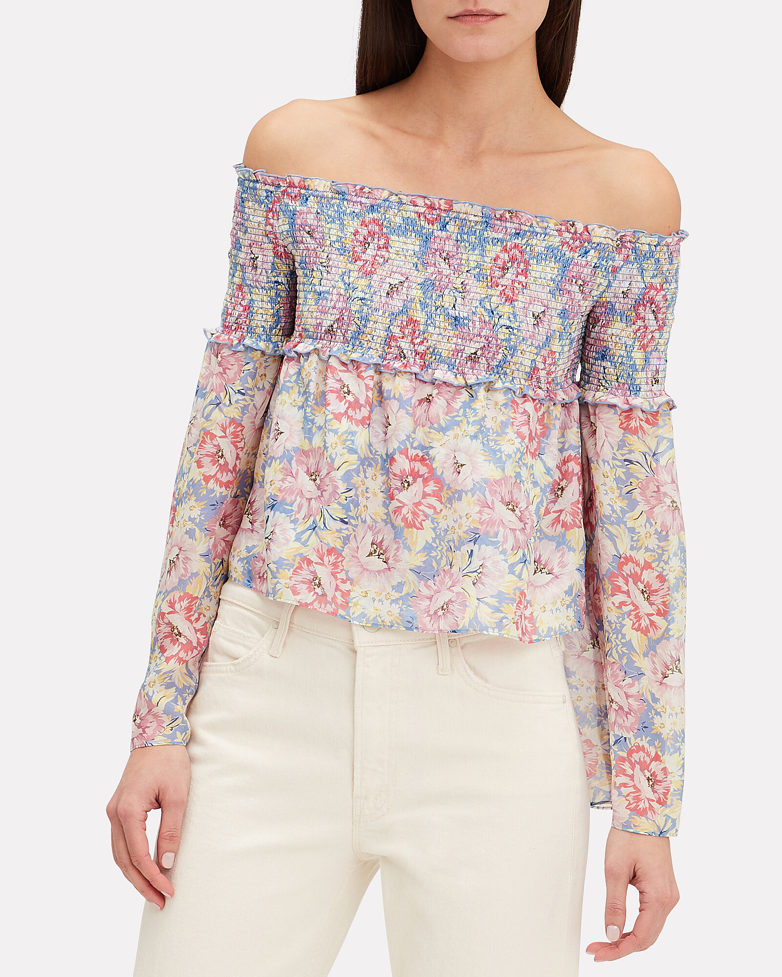 Lucy Off-the-Shoulder Floral Top, MULTI, hi-res