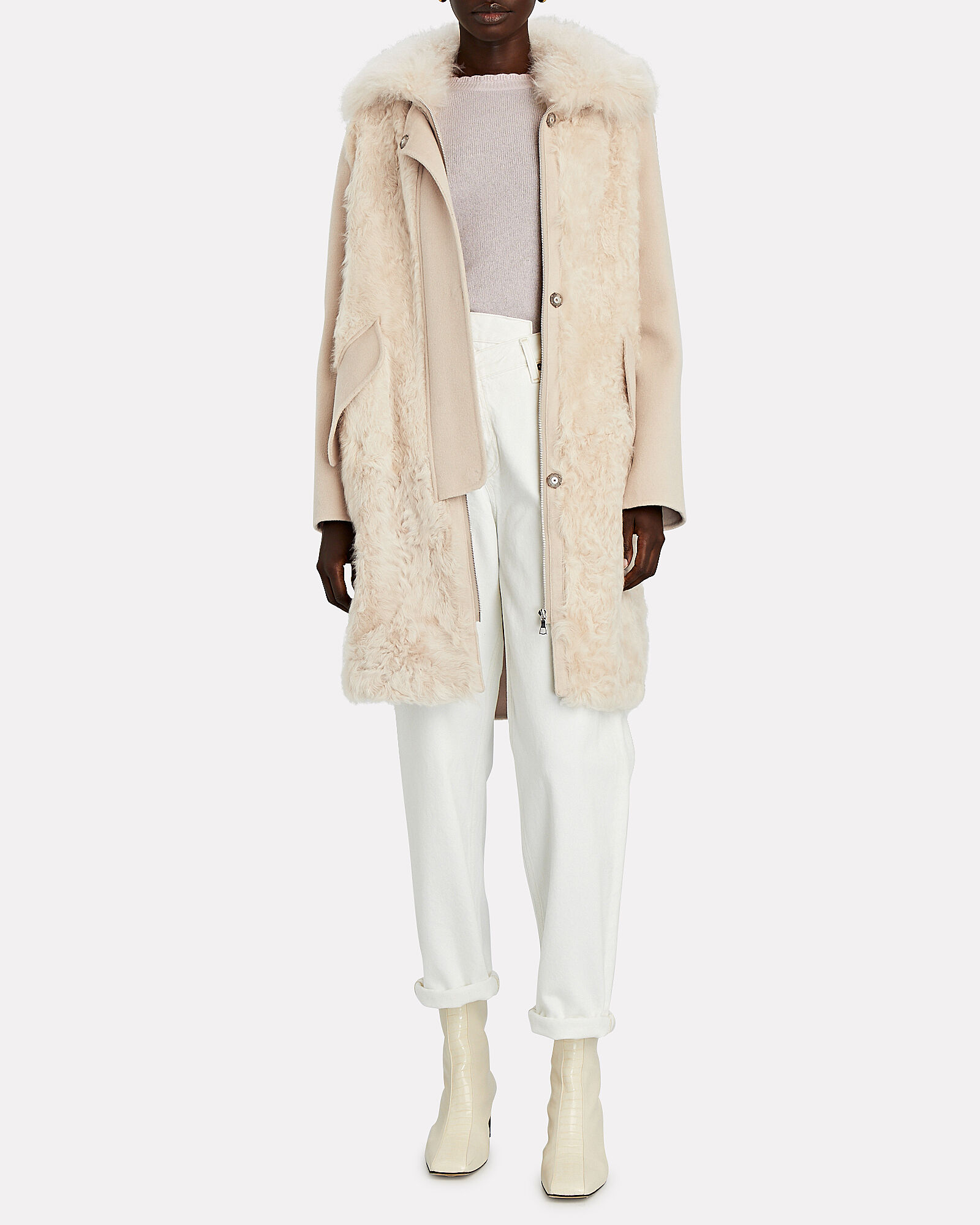 Shearling Trimmed Wool-Cashmere Coat, BEIGE, hi-res