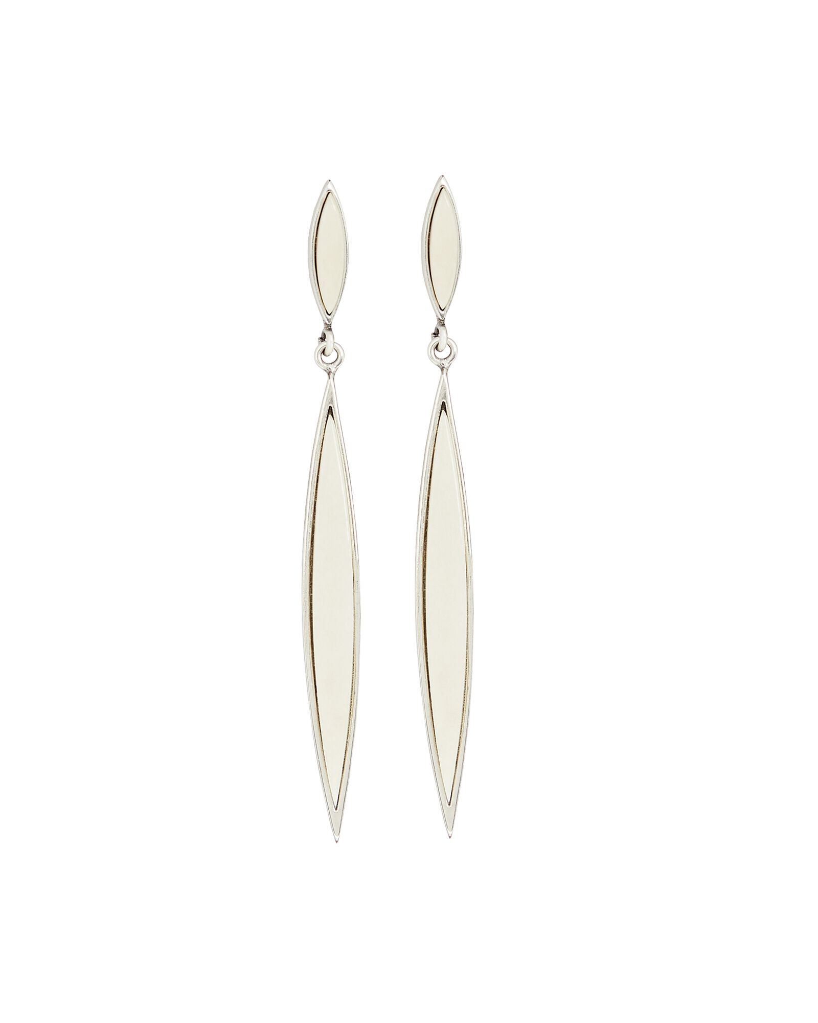 Resin Linear Earrings, IVORY, hi-res