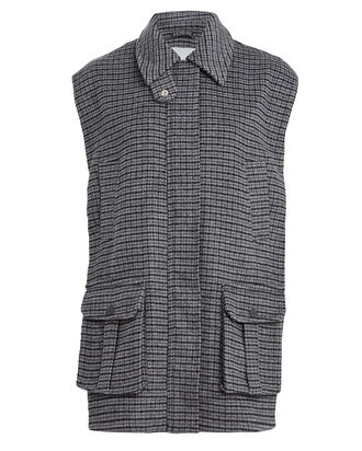 Checked Wool Oversized Vest, CHARCOAL, hi-res