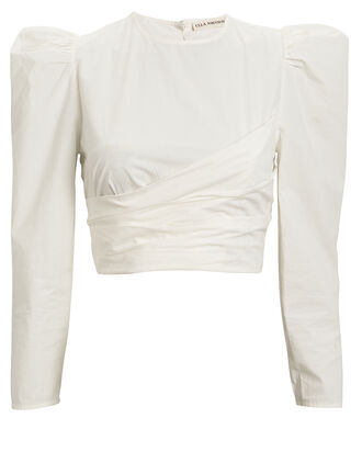 Eden Cropped Cotton Blouse, WHITE, hi-res