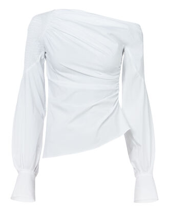 Smocked Asymmetric Top, WHITE, hi-res