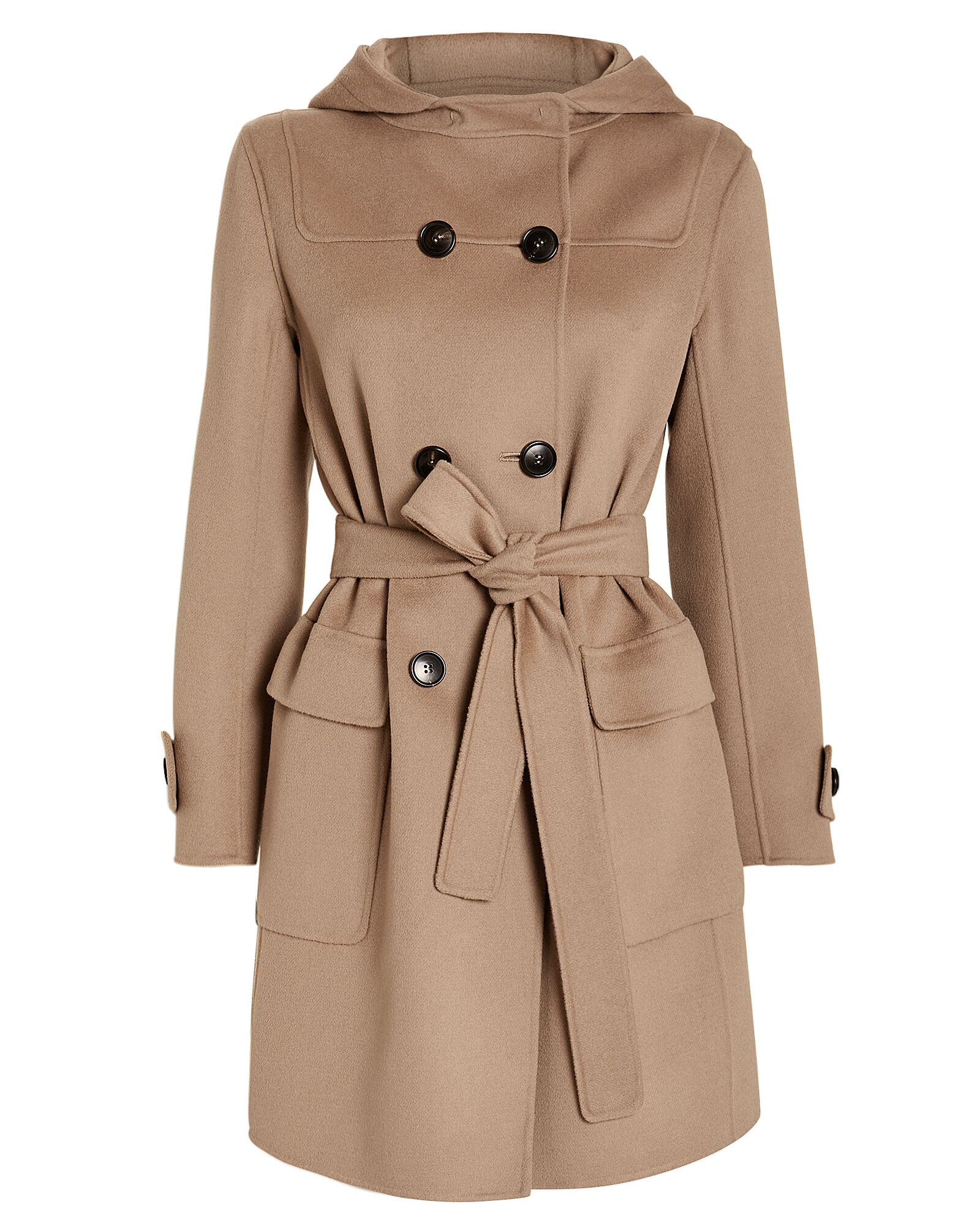 Belted Duffle Hooded Coat, BEIGE, hi-res