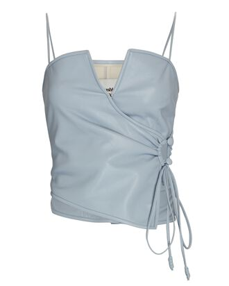 Sleeveless Vegan Leather Wrap Top, LIGHT BLUE, hi-res