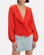 Dawn Silk Knot Front Top, RED, hi-res