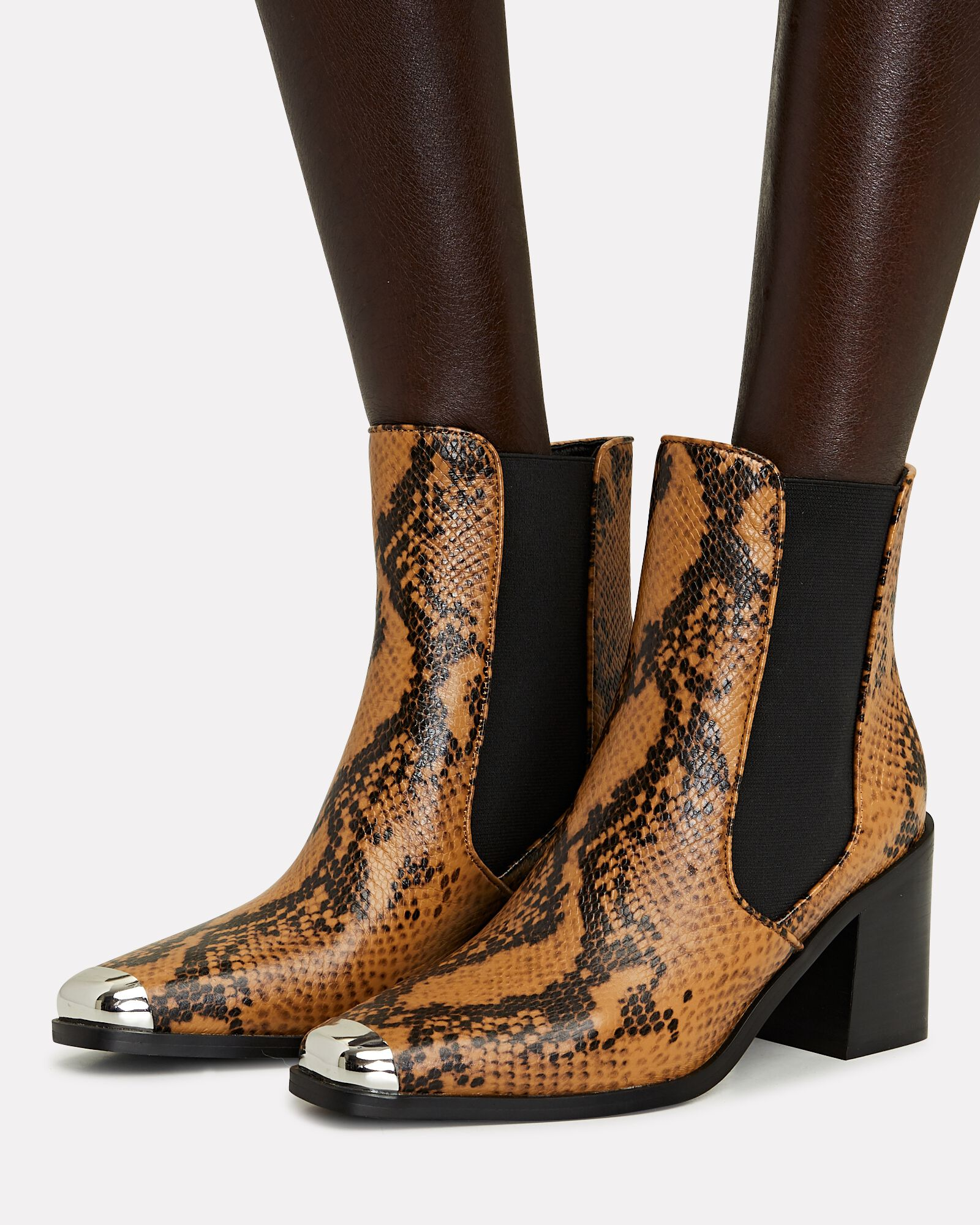 Hero II Python-Embossed Chelsea Booties, ORANGE/BLACK, hi-res