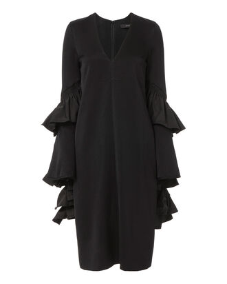 Motolov Ruffle Sleeve Dress, BLACK, hi-res