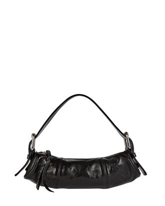 Kubi Cylinder Leather Baguette Bag, BLACK, hi-res
