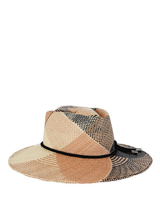 Hilma Plaid Straw Fedora, BEIGE/BLACK PLAID, hi-res