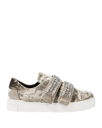 Crystal-Embellished Silver Velvet Low-Top Sneakers, METALLIC, hi-res