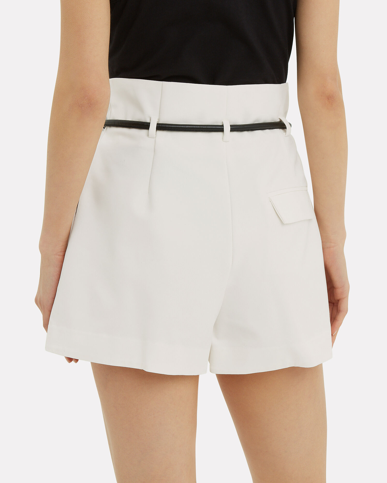 Origami Pleated Paperbag Shorts, IVORY, hi-res