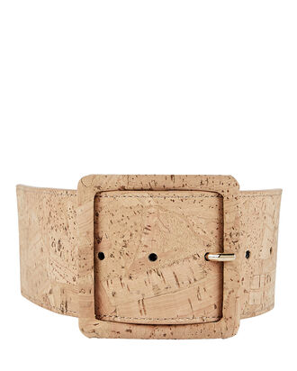 Tinmarie Cork-Trimmed PVC Belt, BEIGE/CLEAR, hi-res