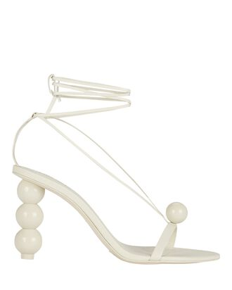 Karen Leather Wrap Sandals, WHITE, hi-res