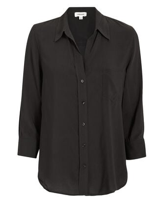 Ryan Silk Button Down Blouse, BLACK, hi-res
