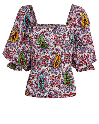 Alicia Puff Sleeve Paisley Top, WHITE/PURPLE/RED, hi-res