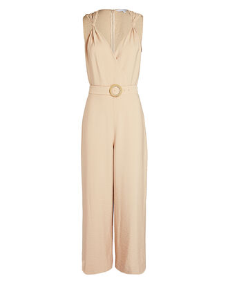 Paula Belted Twill Jumpsuit, BEIGE, hi-res