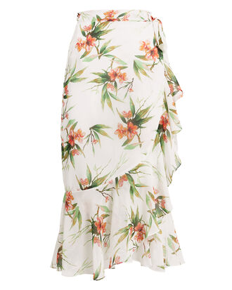 Printed Wrap Midi Skirt, WHITE/FLORAL, hi-res