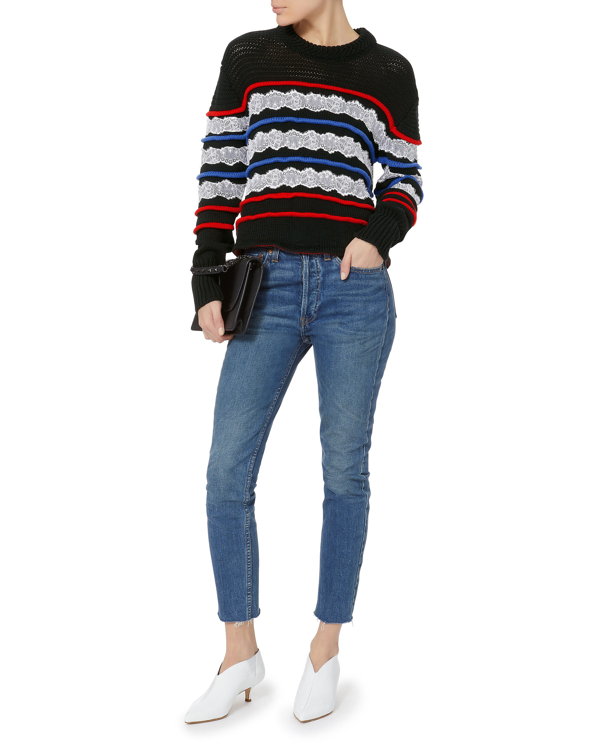 Lace Detail Striped Sweater, MULTI-DRK, hi-res