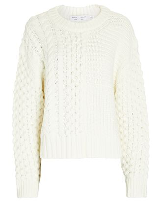 Patchwork Cable Knit Sweater, IVORY, hi-res