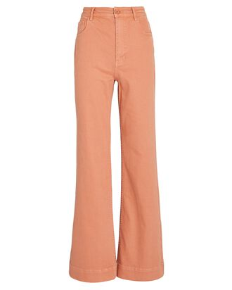 Theo Flared Wide-Leg Jeans, CORAL, hi-res