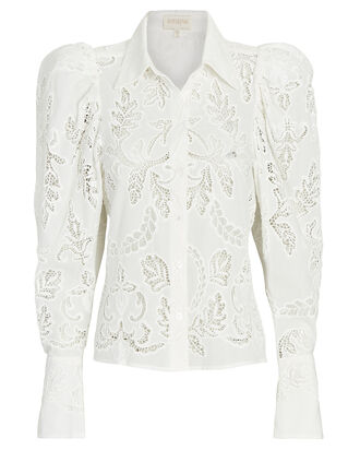 Eyelet Lace Button-Down Blouse, IVORY, hi-res